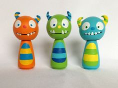 This set of 3 Monster Cuties peg dolls will bring joy and adorableness to anyone they encounter! They add whimsy to a childs room display, and are perfect for a monster themed birthday cake!