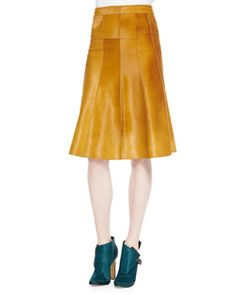 B2NMZ Derek Lam Seamed Calf Hair Skirt