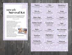 New job survival kit New Job Survival Kit, Survival Kit Gifts, Survival Prepping, Survival Supplies, Teacher Survival, Wilderness Survival, Emergency Preparedness, Going Away Parties, Going Away Gifts