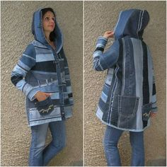 Blue denim hooded jacket, upcycled clothing by EcoClo, size S