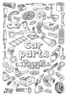 Automotive Shops, Car Tattoos, Mechanical Art, Medicine Wheel, Drawing Style, Free Cars, Car Drawings, Buisness, Spare Parts