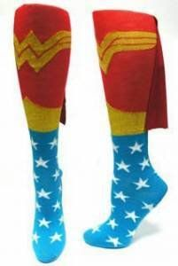 TOPSELLER! DC Comics Wonder Woman Logo Licensed Knee High Socks w/ Cape $4.99    Ana these are for you