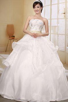 Strapless Luxury Ivory Wedding Dress - Order Link: http://www.theweddingdresses.com/strapless-luxury-ivory-wedding-dress-twdn0409.html - Embellishments: Beading , Crystal , Pick-Ups , Sash , Sequin; Length: Floor Length; Fabric: Organza; Waist: Natural - Price: 138.09USD