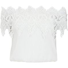 Cameo Rose Lace Trim Bardot Neck Crop Top ($14) ❤ liked on Polyvore featuring tops, lace trim top, rosette top, cropped tops, cut-out crop tops and rose tops