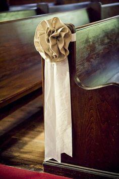 Linen - Burlap pew bows but w/o the linen. replace it with burlap Burlap Pew Bows, Burlap Rosettes, Burlap Flowers, Burlap Ribbon, Burlap Chair, Fabric Flowers, Fall Wedding, Rustic Wedding, Wedding Ceremony