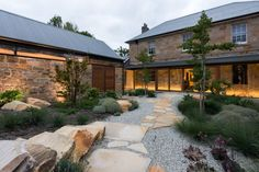 Renovated Georgian house in Acton Park, Tasmania, by architect Robert Morris-Nunn Photo: Matt Samson Georgian Mansion, Georgian Homes, Modern Tropical House, Tropical Houses, Australian Native Garden, Dream House Exterior, Australian Homes, Stone Houses, Home Design Plans