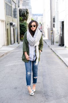 jeans, button-up, army jacket, slight scarf, Ray Bans, metallic flats