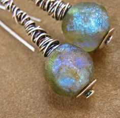 Iridescent+Glass+Bead+Sterling+Wire+Wrap+by+DesertTalismans