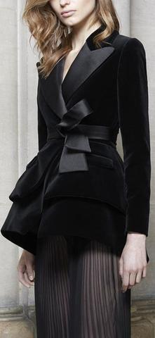 Black Velvet & Satin Tuxedo Blazer