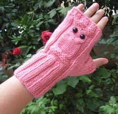 Owl Fingerless GlovesPink Arm Warmers Knit by selmahandcraft