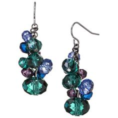 Teal Multicolored Glass Cluster Earring