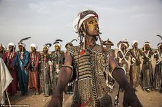 Stunning photos of the Fula Wodaabe have emerged showing tribesmen celebrating as they take part in a traditional courtship competition in Niger
