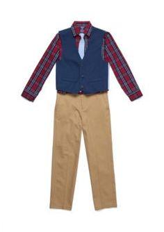 Izod 3-Piece Solid Vest, Plaid Button Front Shirt, And Pants Set Boys 8-20 - Blue - 10