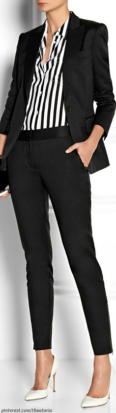 Fall / Winter - business casual - work outfit - black suit + white stilettos + vertical stripes black white shirt