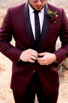 Stay On Trend With This Burgundy Tuxedo Everything Wedding