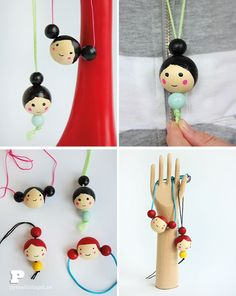 Make doll face necklaces by painting wooden beads.: