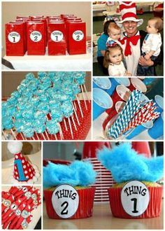 Love Thing 1 and Thing 2 cupcakes with blue cotton candy! Also, the Cat and the Hat costume worn by dad!