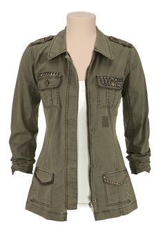 Military jacket with metallic studs (original price, $59) available at #Maurices