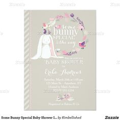 Some Bunny Special Spring Baby Shower Invitation (gray/pink/purple) by Kimbellished