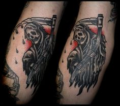 Grim reaper traditional tattoo