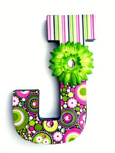 Decorative Letter J Paper Mache Decoupaged by HillTopDesignsToo, $12.00