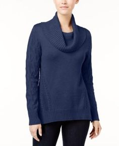 Style & Co Petite Cowl-Neck Sweater, Created for Macy's - Blue P/XS