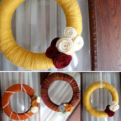 yarn wreath tutorial, yarn wreath etsy, yarn wreath handmade  ***Post Pinned Review:  made a version of this for Scarlet's first birthday decor and it now hangs on her bedroom door.  I used ribbon and scrapbooking details over a straw wreath.  Just wrap, hot glue, wrap, hot glue!  Easy peasy and delightful!  would make a great house warming gift.