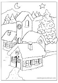 houses in winter Christmas Coloring Pages, Coloring Book Pages, Christmas Colors, Christmas Art, Applique Patterns, Quilt Patterns, House Quilts, Art Drawings For Kids, Christmas Drawing