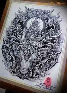 Khmer Tattoo, Thai Tattoo, Tribal Tattoo Designs, Tribal Tattoos, Dragon Tattoo Full Back, Buddha Tattoo Design, Lion Head Tattoos, Thai Art, Back Pieces