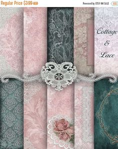 50 % Off Pink and Teal Lace Digital Papers Printable Digital