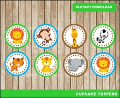 Safari cupcakes toppers printable Safari baby shower toppers