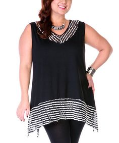 Aster Plus size ~ Love this Black & White Ribbon Trim V-Neck Top - Plus on #zulily! #zulilyfinds