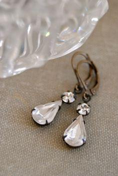 Evelyn. vintage crystal drop earrings. bridal by tiedupmemories, $18.00