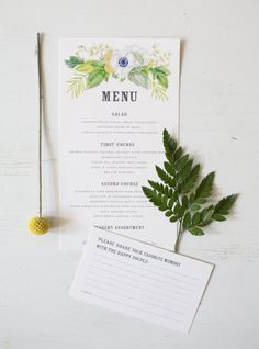 A lovely botanical menu from Lana's Shop. Photography by andimansphotography.com  Read more - http://www.stylemepretty.com/2013/08/07/behind-the-invitation-a-botanical-wedding-suite-from-lanas-shop/