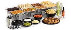 Mexican banquet (California Tortilla) catering (food, festivals, fun interpretation of multicultural education) Burrito Bar, Taco Bar, Work Party, Fiesta Party, Party Time, Taco Catering, Catering Ideas, Graduation Food, Home
