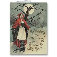 Witch Black Cat Full Moon Cards