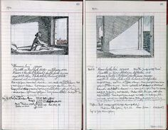 "Edward Hopper (b. 1882 - d. American), Notebook of notes (expense notes, measurements, various notes), by pages: 43 and 41 of the two paintings: ""Morning Sun"" and ""Rooms by the Sea"" ~ © Heirs of Josephine N. Hopper / © Estate of Edward Hopper. Edward Hopper, Artist Journal, Artist Sketchbook, Moleskine, Travel Sketchbook, Sketchbook Inspiration, Urban Sketching, Famous Artists, Art Sketches"