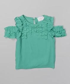 Another great find on #zulily! Sea Green Off-Shoulder Ruffle Top - Toddler & Girls by Blossom Couture #zulilyfinds