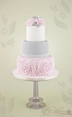 gray with pink accent wedding cake | Wedding Cakes
