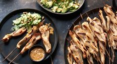 Check out this delicious recipe for Chicken Satay with Spicy Peanut Sauce and Cucumber-Jalapeño Salad from Weber—the world's number one authority in grilling.