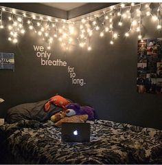 Love the Tumblr themed room! Just add the Christmas lights, a quote, and some pictures to your wall, and you're good to go! Good luck c: #WallDecorLights