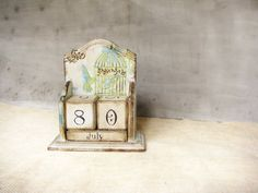 Vintage rustic style perpetual calendar with two birds by Grimme, $45.00