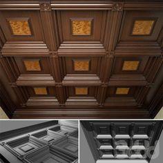 Деревянный кессонный потолок в Викторианском стиле