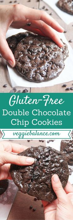 Flourless Double Chocolate Chip Cookies The only cookie you'll need in your life FOREVER. You'll never know it's flourless and totally gluten-free Gluten Free Sweets, Gluten Free Baking, Dairy Free Recipes, Easy Recipes, Gluten Free Chocolate Chip Cookies, Gluten Free Cookies, Gluten Free Chips, Flourless Chocolate Cookies, Paleo Chocolate