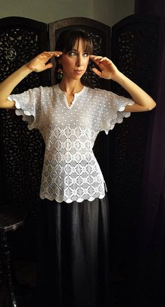 vintage crocheted lace blouse in white / unique by silkroaddream