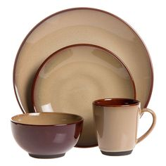 This Nova Brown 40-piece stoneware dinnerware set has a rustic look and casual style that makes it ideal for everyday use or informal events.  sc 1 st  Pinterest & Mainstays 16-Piece Stoneware Dinnerware Set Red Sedona. Lovely ...