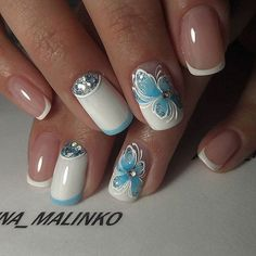 The Blue Butterflied White Nail Art Design. Enhance the look of your nails with this beautifully created white base with the blue butterfly nail art design. This is something new that you can try with your blue and white prom dress. Floral Nail Art, White Nail Art, New Nail Art, Cool Nail Art, White Nails, Nail Art Designs 2016, White Nail Designs, Beautiful Nail Designs, Beautiful Nail Art