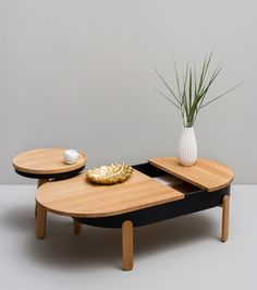 BATEA L Coffee table with storage space by Woodendot design woodendot
