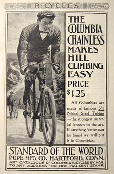 1898 Antique Pope Mfg. Columbia Chainless Bicycle Ad ~ Easy Hill Climbing