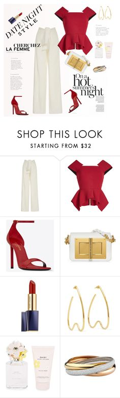 """Hot: Summer Date Night"" by ellie366 ❤ liked on Polyvore featuring Johanna Ortiz, Roland Mouret, Yves Saint Laurent, Estée Lauder, Simone Rocha, Marc Jacobs, widelegpants, statementshoes, summerdatenight and ruffledtops"